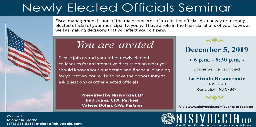 image of invitation to the newly elected officials event